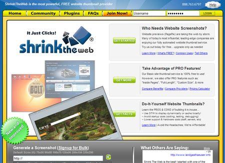 ShrinkTheWeb, Realiza screenshots de sitios web