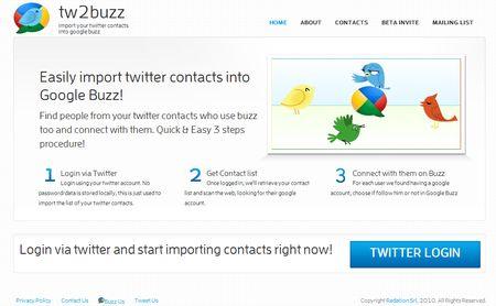 tw2buzz, Importa tus contactos de Twitter a Google Buzz