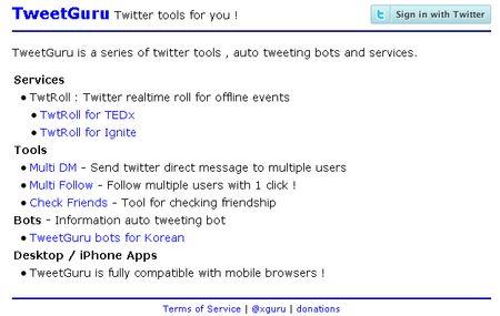 TweetGuru, mensajes directos simultáneos a multiples followers de twitter