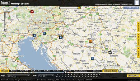 Transmeet.tv, Guia de conciertos geolocalizados en Google Maps
