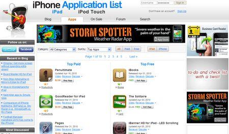 iPhoneapplicationlist, Apps para iPhone, iPod e iPad