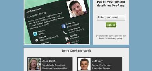 OnePage, Tu tarjeta de contacto en la red