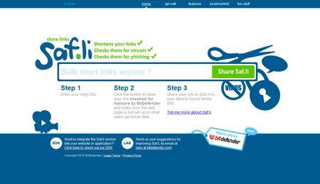 Saf.li, Un acortador de urls con antivirus incorporado