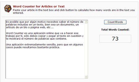 Word Counter, Aplicacion online para contar cuantas palabras hay en un texto