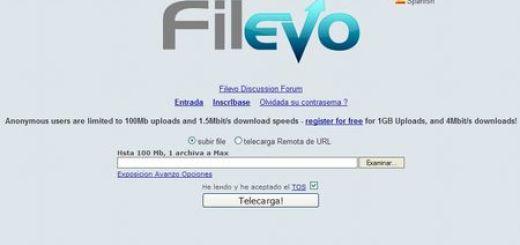 Filevo, Aloja y comparte archivos de hasta 1 GB