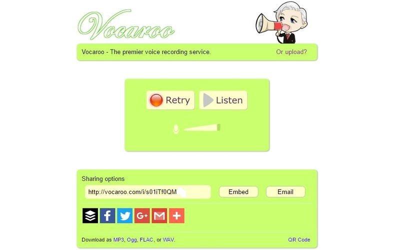 Grabador de voz online - Vocaroo