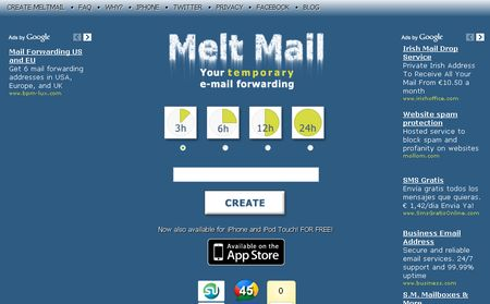 Melt Mail, Correo electronico temporal