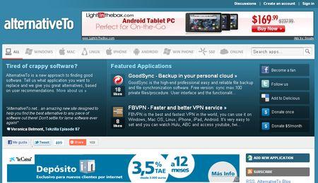 alternativeTo, Encuentra alternativas para una aplicacion