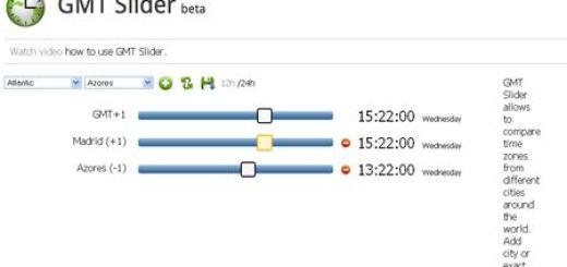 GMTSlider, Compara zonas horarias de diferentes ciudades del mundo