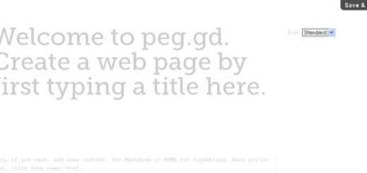 Peg.gd, Crea sencillas paginas de texto para compartir