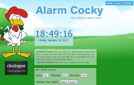 Alarm Cocky, Alarma online con varios sonidos