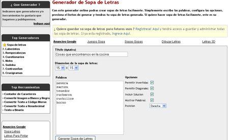 Generador de Sopas de Letras online para imprimir y resolver con papel y lapiz