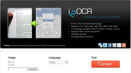 i2OCR, Conversor online de texto en imagenes a texto editable