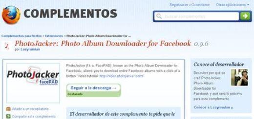 PhotoJacker, Descarga albumes completos de fotos en Facebook con esta extension para Firefox