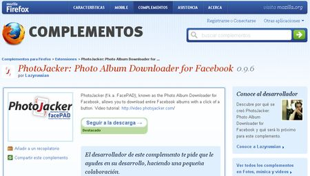 photojacker PhotoJacker, Descarga albumes completos de fotos en Facebook con esta extension para Firefox