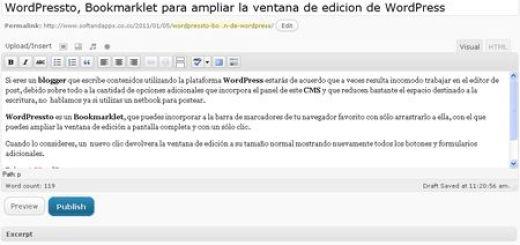 WordPressto, Bookmarklet para ampliar la ventana de edicion de WordPress