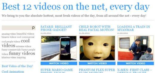 12vid, Los 12 vídeos más populares del día