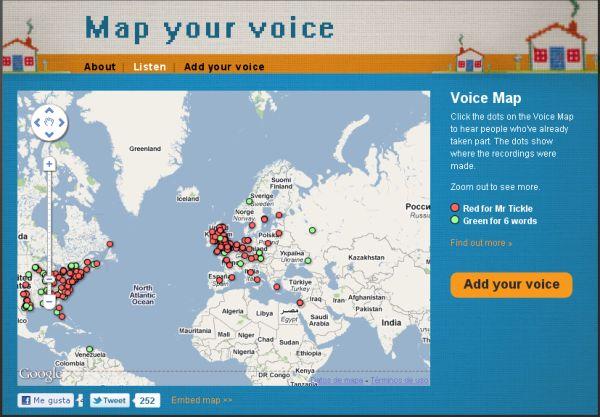Map your voice, Pronunciaciones en inglés de diferentes partes del mundo