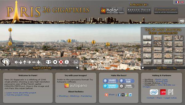 París 26 Gigapixels, Visita virtual a la capital francesa desde una imagen panorámica
