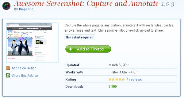 Awesome Screenshot, extensión para realizar capturas de pantalla desde Firefox