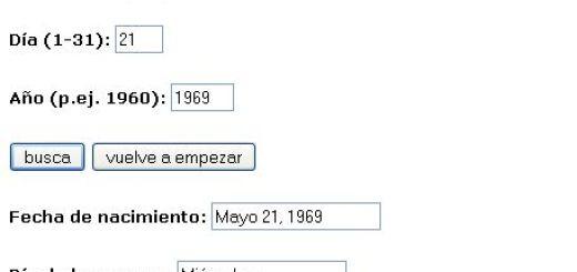 Utilidad web para calcular que día de la semana naciste
