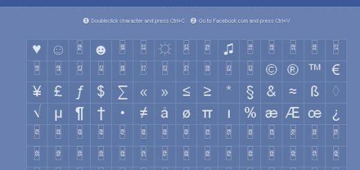Facebook Symbols, colección de símbolos que puedes usar en Facebook