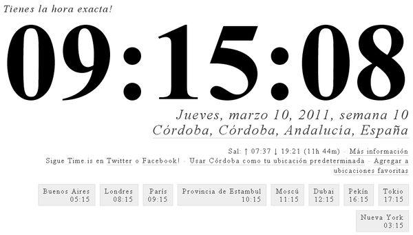 Time.is, reloj atómico para conocer la hora local con exactitud
