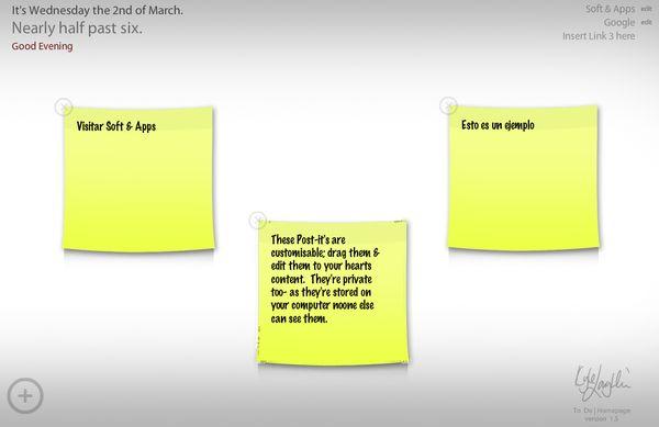 ToDo Homepage, Página de inicio y tablón de notas