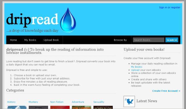 Dripread, lee un libro poco a poco mediante resumenes en tu email