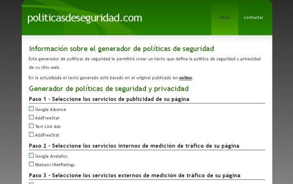 Generador online de políticas de privacidad