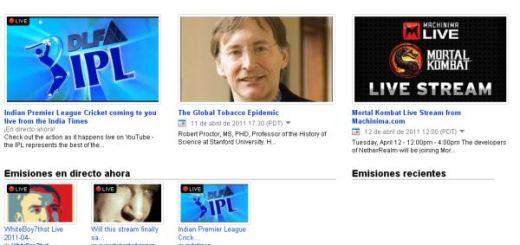 YouTube Live, las emisiones en vivo de YouTube