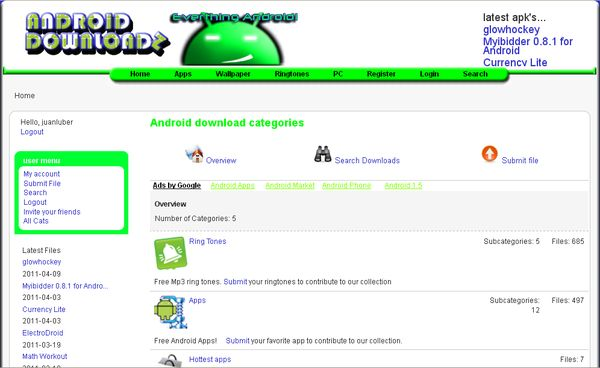 Android Downloadz Android Downloadz, directorio de archivos apk para Android