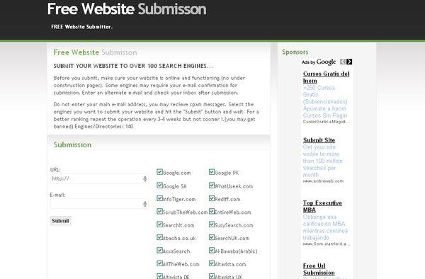 Free Website Submisson, envía tu sitio a más de cien buscadores