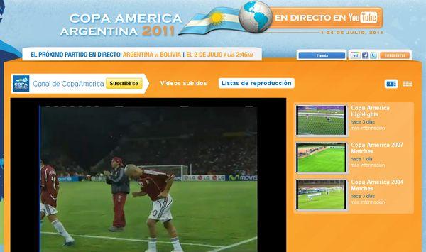 YouTube lanza un canal para seguir en vivo la Copa América