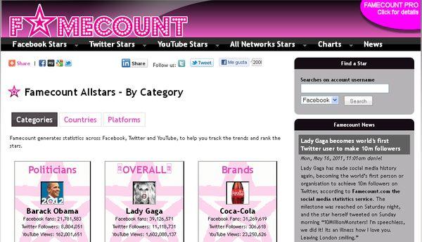 Famecount Famecount, buscador de cuentas reales de famosos en redes sociales