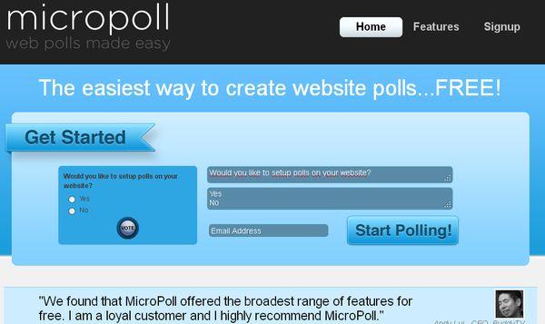 Micropoll, creación gratuita y rápida de encuestas para tu blog