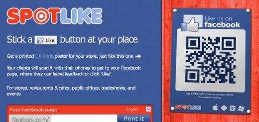 SpotLike, crea carteles con códigos QR para ganar Fans en Facebook