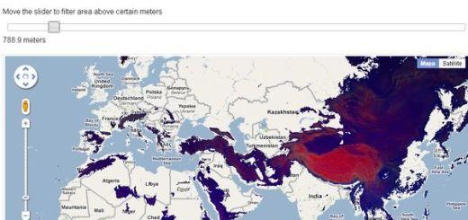 Visual Raster, localiza en el mapa zonas de una determinada altitud