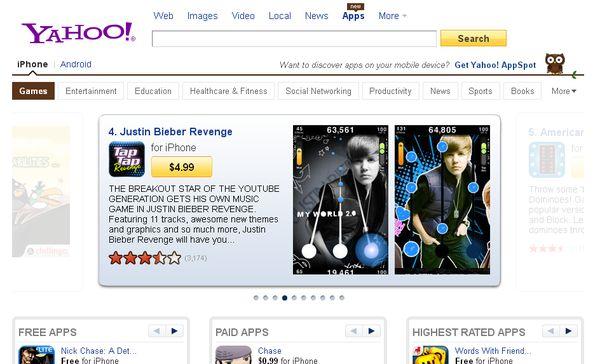 Yahoo! incorpora un buscador de Apps