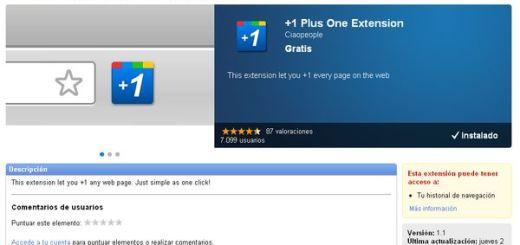 +1 Plus One Extension, descubre cuántos +1 ha recibido un sitio (Chrome)