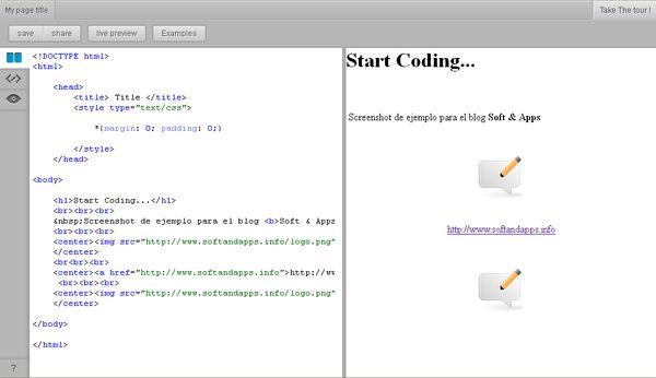 Qip.li, edita y comparte código html online