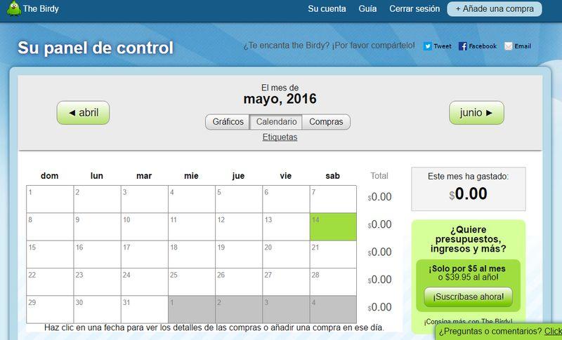 thebirdy sencilla utilidad web para control de gastos