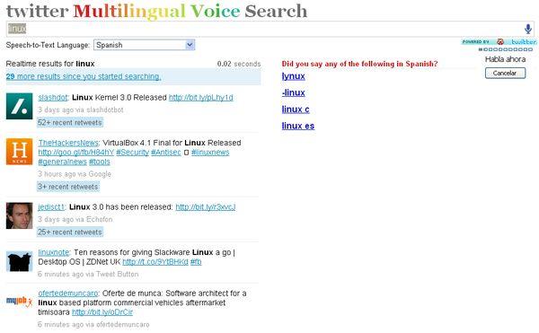 Twitter Multilingual Voice Search, busca contenidos en Twitter mediante la voz