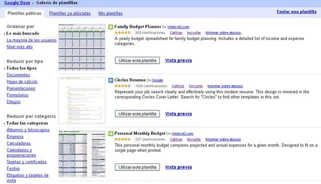 Miles de plantillas para Google Docs