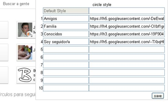 configuracion Change Circle Images for Google Plus, dale un nuevo look a tus círculos de Google+ (Chrome)
