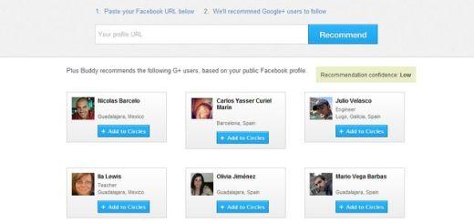 Plus Buddy te sugiere usuarios de Google Plus analizando tus contactos de Facebook