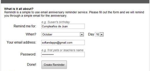 Remindii, práctico sistema de recordatorios online muy sencillo de usar