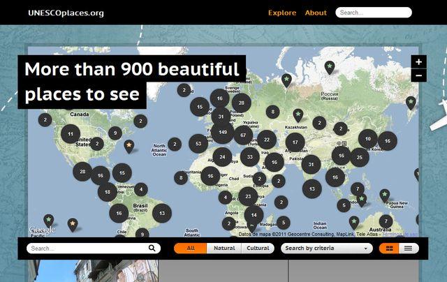 UNESCOplaces, un mapa para conocer los 911 lugares declarados Patrimonio de la Humanidad