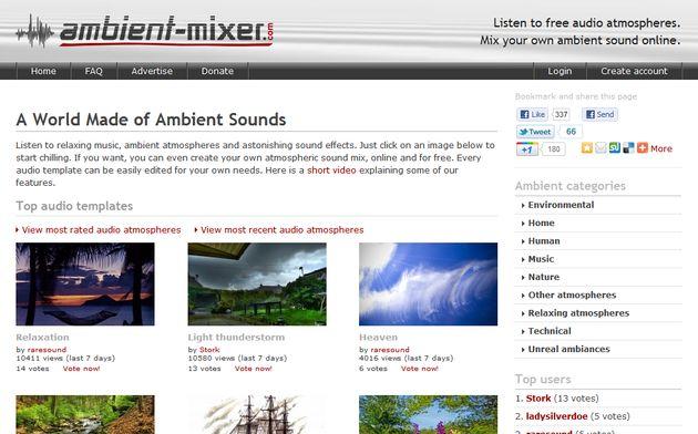 Ambient-Mixer, miles de sonidos relajantes organizados en categorías