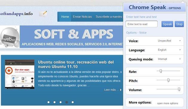 Chrome Speak, extensión que te lee en voz alta cualquier texto seleccionado